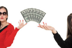 Make money. Young business woman hold money Stock Images