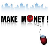 Make money. Abstract colorful background with red computer mouse connected to the text make money written with black letters Stock Image