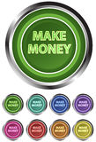 Make money bitton. Color make money button isolated on white Royalty Free Stock Photography