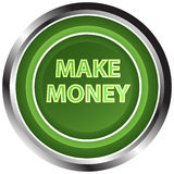 Make money button. A round, green button on a white background reading make money Stock Images