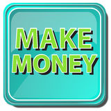 Make money button. A green button on a white background Stock Photography