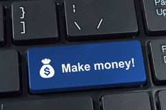 Make money button with icon sack and dollar sign. Internet concept earnings Royalty Free Stock Photo