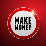 Make money button red Royalty Free Stock Image