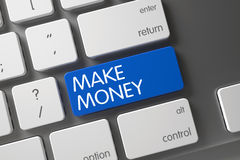 Make Money CloseUp of Keyboard. 3D. Stock Images