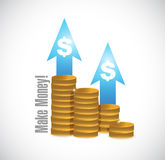 Make money coins graph illustration royalty free illustration