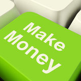 Make Money Computer Key In Green Showing Startup Business And We Royalty Free Stock Image