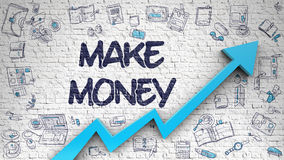 Make Money Drawn on White Brick Wall. Make Money - Success Concept. Inscription on the White Brickwall with Doodle Icons Around. White Wall with Make Money Stock Photo
