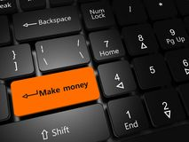 Make money. E-business concept. Laptop keyboard with button Make money close-up Stock Photo