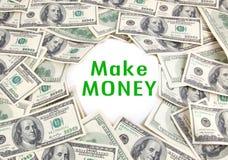 Make Money. Earn Money on background Hundred Dollars - make money Royalty Free Stock Photo