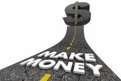 Make Money Earn Income Revenue Profits Road Words 3d Illustration royalty free illustration