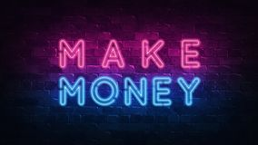 Make money. Financial growth. Neon sign, great design for any purposes. 3d render. Modern design. Retro emblem design. Slot neon royalty free illustration