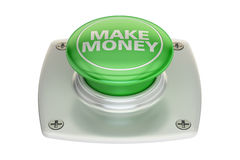 Make money green button, 3D rendering. Isolated on white background Royalty Free Stock Photo