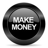 Make money icon. Black circle web button on white background make money icon Stock Photography