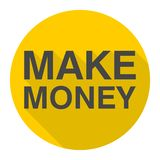 Make Money icon with long shadow. Vector icon Stock Photo