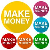 Make Money icon with long shadow. Vector icon Stock Image