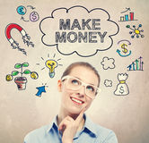 Make Money idea sketch with young business woman Stock Photos