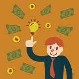 Make money. With idea, vector concept Royalty Free Stock Images
