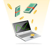 Make money with on line trading. Vector illustration as clip art or icon of laptop connected to internet and displaying  a statistic data diagram for financial Royalty Free Stock Photography