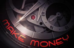 Make Money on Mechanical Wristwatch Mechanism. 3D. Make Money on Vintage Watch Detail, Chronograph Closeup. Mechanical Pocket Watch with Make Money Inscription Stock Images