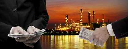 Make money from oil refinery business Stock Photo