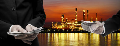 Make money from oil refinery business Royalty Free Stock Photography