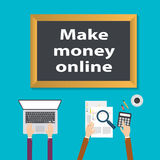 Make money online On blackboard with cup of coffee, vector illustration Stock Photography
