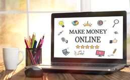Make Money Online Concept On Laptop Computer. Screen stock images