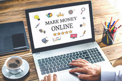 Make Money Online Concept On Laptop Monitor Stock Photography