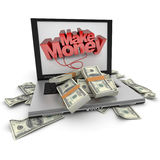 Make money online, dollars Stock Photography