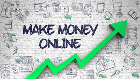 Make Money Online Drawn on White Brickwall. 3d. Stock Photography