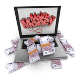 Make money online, euros Royalty Free Stock Image