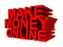 Make money online. Text 'make money online' in uppercase red 3D letters on a white background royalty free illustration