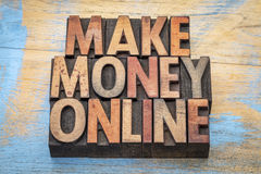 Make money online in wood type Stock Photo