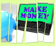 Make Money Piggy Bank Means Accumulating Wealth And Prosperity Stock Image