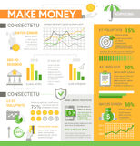 Make Money - poster, brochure cover template. Make Money - info poster, brochure cover template layout with flat design icons, other infographic elements and Stock Photo