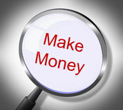 Make Money Represents Searches Earnings And Wages. Make Money Indicating Earnings Magnify And Magnification royalty free illustration