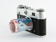 Camera with euro bills Stock Image