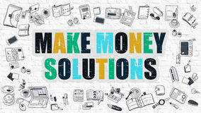 Make Money Solutions in Multicolor. Doodle Design. Stock Photography