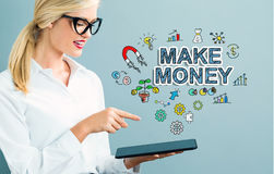 Make Money text with business woman Stock Photography