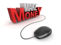 Make money text and computer mouse Stock Photos