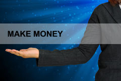 Make Money on woman hand. Make Money on hand business woman Royalty Free Stock Photos