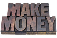 Make money in wood type Stock Images