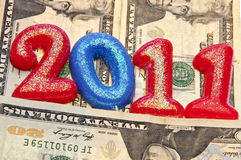 Make More Money in 2011. 2011 and USA Currency Background Represents the Concept of Making More Money in 2011 Royalty Free Stock Photo
