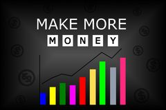 Make more money text with colorful chart Royalty Free Stock Images