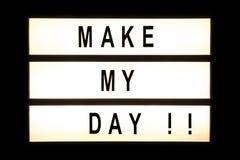 Make my day che appende scatola leggera Fotografia Stock Libera da Diritti