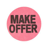 Make offer garage sale sticker. A pink generic garage sale sticker with Make Offer printed isolated on a white background Stock Photography