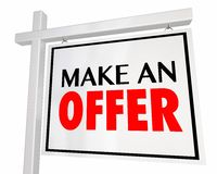 Make an Offer Home for Sale House Real Estate Sigm Royalty Free Stock Photography