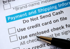 Make payment with Credit card or check Royalty Free Stock Photos