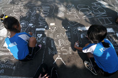 Make a picture entitled independence using chalk during celebration the independence day Stock Images