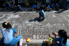 Make a picture entitled independence using chalk during celebration the independence day Royalty Free Stock Photo